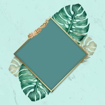 Vecteur de cadre losange feuillu vert