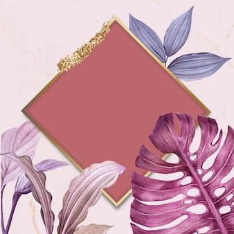 Vecteur de cadre losange feuillu violet