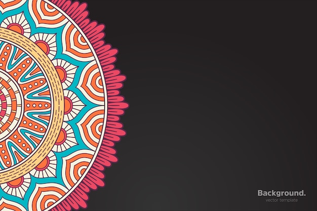 Vecteur de cadre noir avec mandala oriental abstrait
