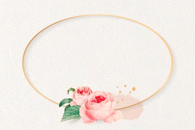 Vecteur de cadre ovale floral blanc