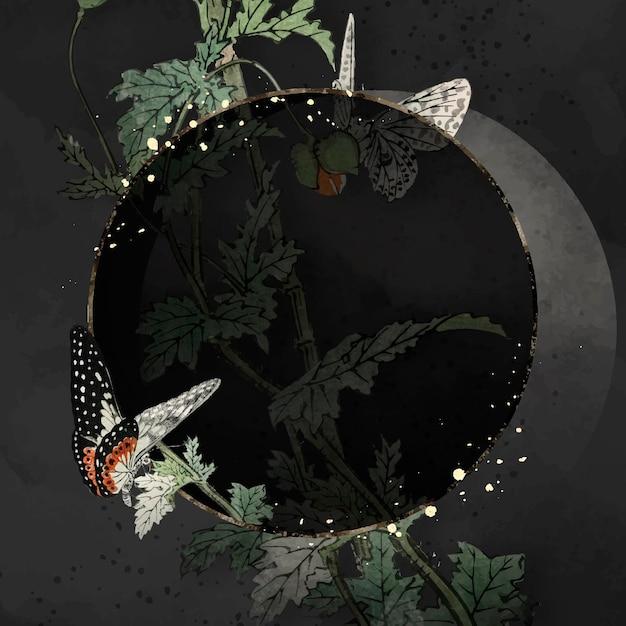 Vecteur de cadre papillon feuillu rond