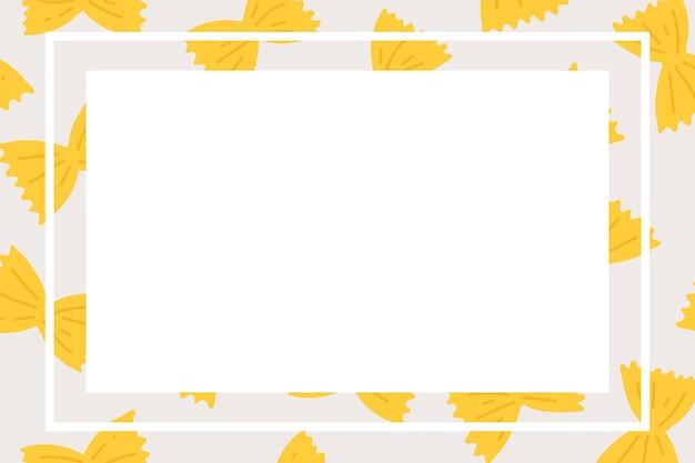 Vecteur de cadre de pâtes farfalle mignon en forme de rectangle doodle motif alimentaire