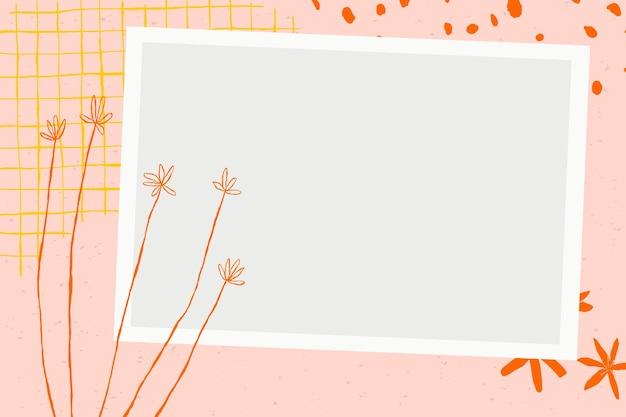 Vecteur de cadre photo floral avec des griffonnages de fleurs sur fond esthétique rose