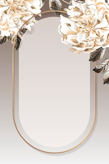 Vecteur de cadre de pivoine ovale doré