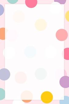 Vecteur de cadre à pois pastel dans un joli motif pastel