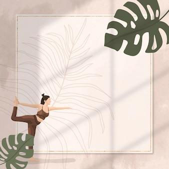 Vecteur de cadre de pose de yoga floral avec femme pratiquant la pose du seigneur de la danse