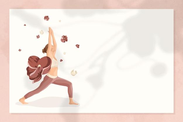 Vecteur de cadre de pose de yoga floral avec femme pratiquant la pose de guerrier 1