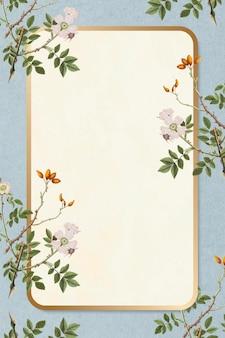 Vecteur de cadre rectangle floral or vintage élégant