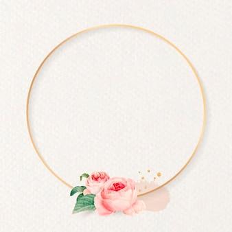 Vecteur de cadre rond floral blanc