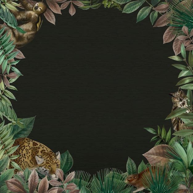 Vecteur de cadre rond jungle avec fond noir de l'espace design