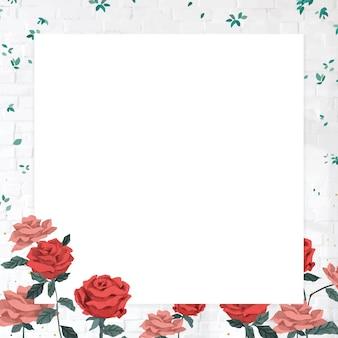Vecteur de cadre de roses de la saint-valentin romantique avec fond transparent