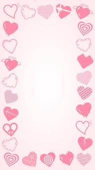 Vecteur de cadre saint valentin, conception de frontière coeur mignon