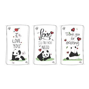 Vecteur de cadre sertie d'illustration aquarelle de panda