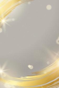 Vecteur de cadre de trait de pinceau doré avec une lumière brillante