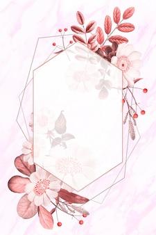 Vecteur de cadre vierge sur motif floral d'été
