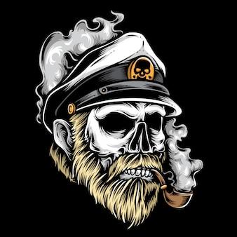 Vecteur de capitaine de crâne