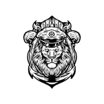 Vecteur de capitaine lion