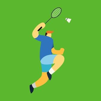 Vecteur de caractere du joueur de badminton