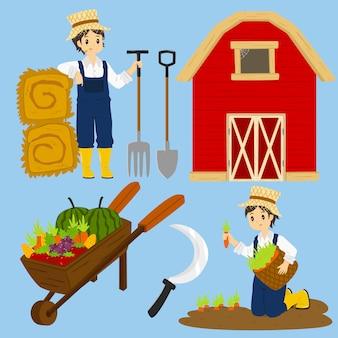 Vecteur de caractère fermier