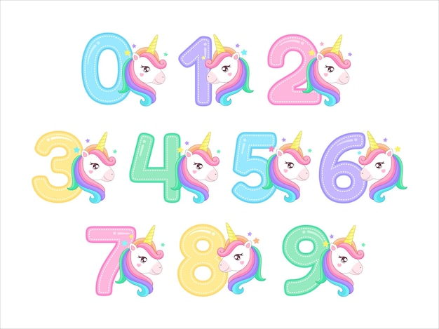 Vecteur de caractère licorne chiffres mignons illustration