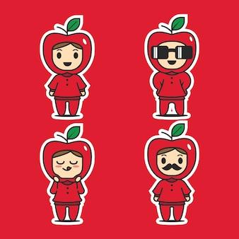 Vecteur de caractère mignon pomme