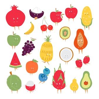 Vecteur de caractères de dessin animé de fruits tropicaux