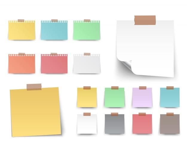 Vecteur carré autocollants colorés et blancs