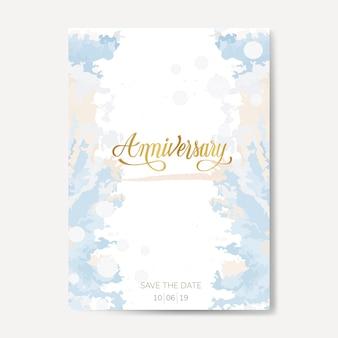 Vecteur de carte anniversaire mariage pastel