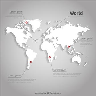 Vecteur de la carte du monde modèle infographique