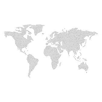 Vecteur de carte du monde en pointillé