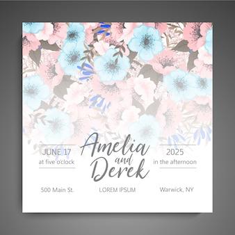 Vecteur de carte élégante invitation de mariage floral