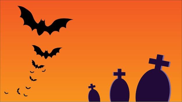 Vecteur de carte de fête d'halloween avec espace de copie pour le texte illustration de tombes et de chauves-souris
