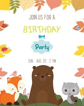 Vecteur de carte d'invitation de fête d'anniversaire mignon thème animal.