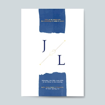 Vecteur de carte invitation mariage bleu