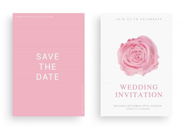 Vecteur de carte invitation mariage élégant avec duvet