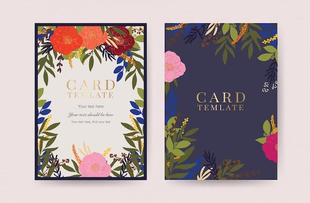 Vecteur de carte invitation mariage floral