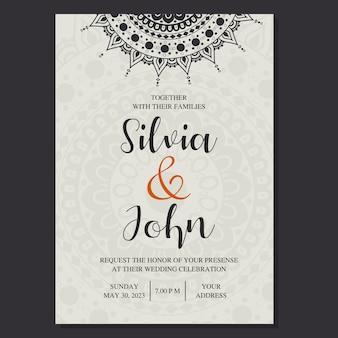 Vecteur de carte invitation mariage ornemental.
