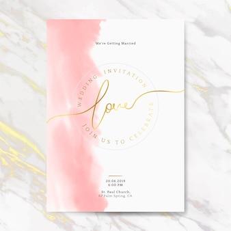 Vecteur de carte invitation mariage rose