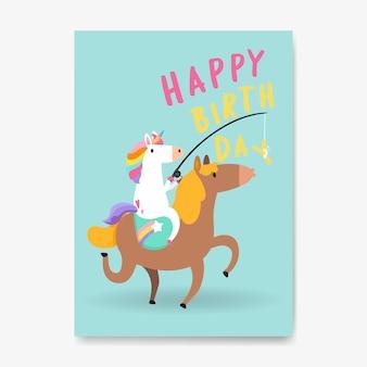 Vecteur de carte de joyeux anniversaire licorne