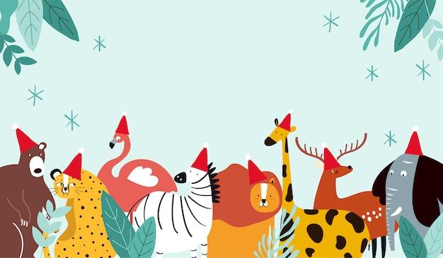 Vecteur de carte joyeux noël thème animal