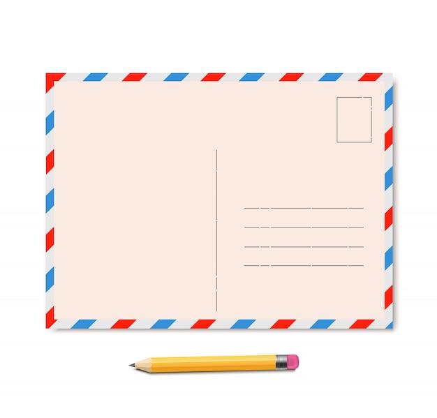 Vecteur de carte postale vintage avec un crayon