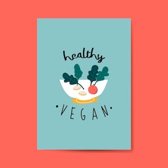 Vecteur de carte salade végétalienne saine