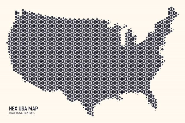 Vecteur de carte usa hexagonal