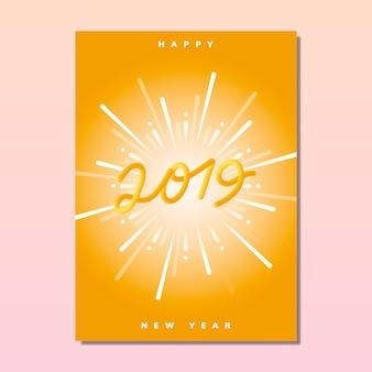 Vecteur de carte de voeux de bonne année 2019