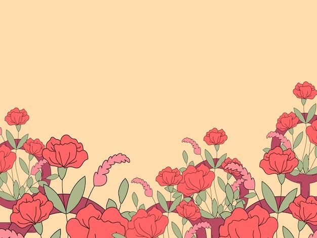 Vecteur de carte de voeux de fleur vide