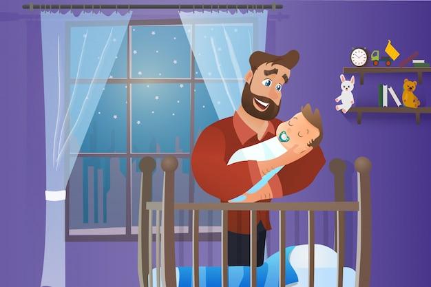 Vecteur cartoon illustration concept père heureux
