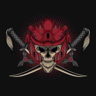 Vecteur de casque de tête de squelette de samouraï oni