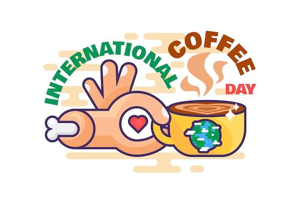 Vecteur de célébration mondiale de la journée internationale du café. main tenant une tasse avec une boisson chaude énergétique aromatique, une boisson d'amour avec de la caféine. tasse avec illustration de dessin animé plat expresso ou latte