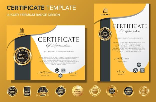 Vecteur de certificat professionnel modèle de luxe bakcground