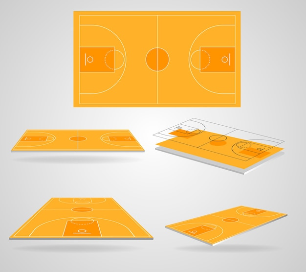 Vecteur de champ de basket-ball isométrique